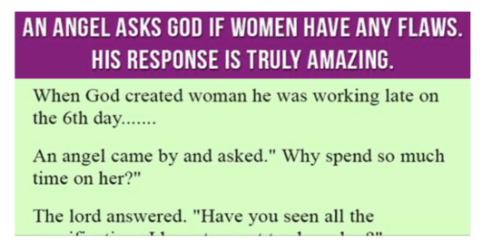 An Angel Asks God If Females Have Any kind of Problems. His Reaction Is Genuinely Remarkable.